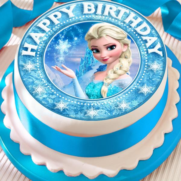 Incredible Frozen Elsa Precut Edible Happy Birthday Star Border Cake Topper Personalised Birthday Cards Paralily Jamesorg