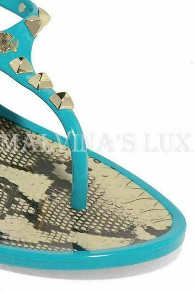 ROBERTO CAVALLI SHOES STUDDED RUBBER SANDALS TURQUOISE LOGO DETAIL sz 38 8