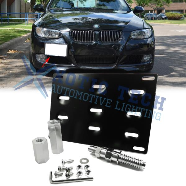 Black Tow Front Bumper License Plate Mounting Bracket Holder For BMW 1 3 X5