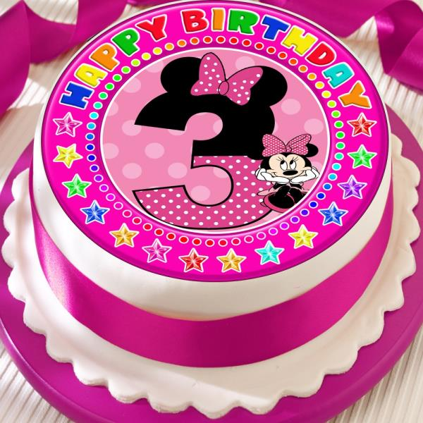Magnificent Minnie Mouse Age 3 3Rd Birthday Precut Edible 7 5 Inch Cake Topper Personalised Birthday Cards Paralily Jamesorg