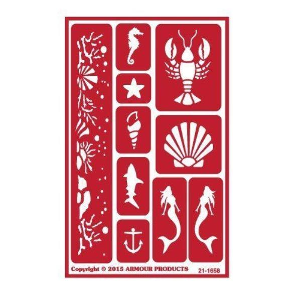 ONO Sea Creatures Armour Reusable Over n Over Glass Etching Stencil