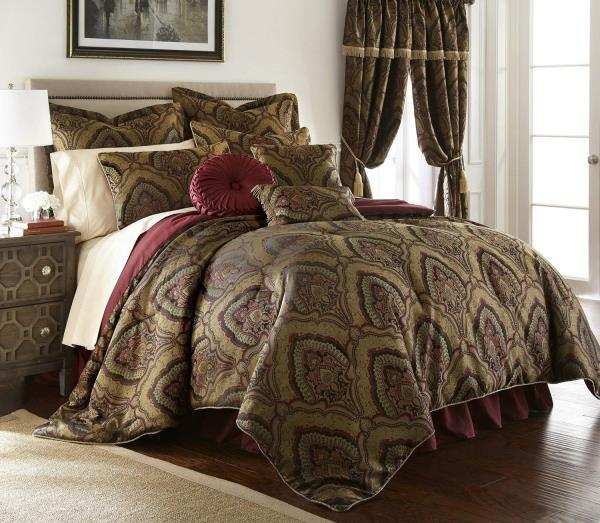 Details about Full Queen Cal King Bed Gold Black Burgundy Medallion Paisley  9 pc Comforter Set