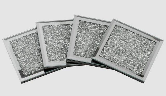 Set Of 4 Mirrored Crushed Crystal Diamond Filled Glass Coaster Ebay