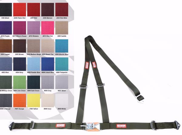 """ANY COLOR 2/"""" LATCH /& LINK Y RACING HARNESS 3 POINT SEAT BELT MILITARY GREEN"""
