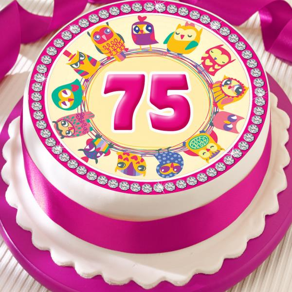 Phenomenal Pink Owl 75Th Birthday Anniversary Border 7 5 Inch Precut Edible Personalised Birthday Cards Sponlily Jamesorg
