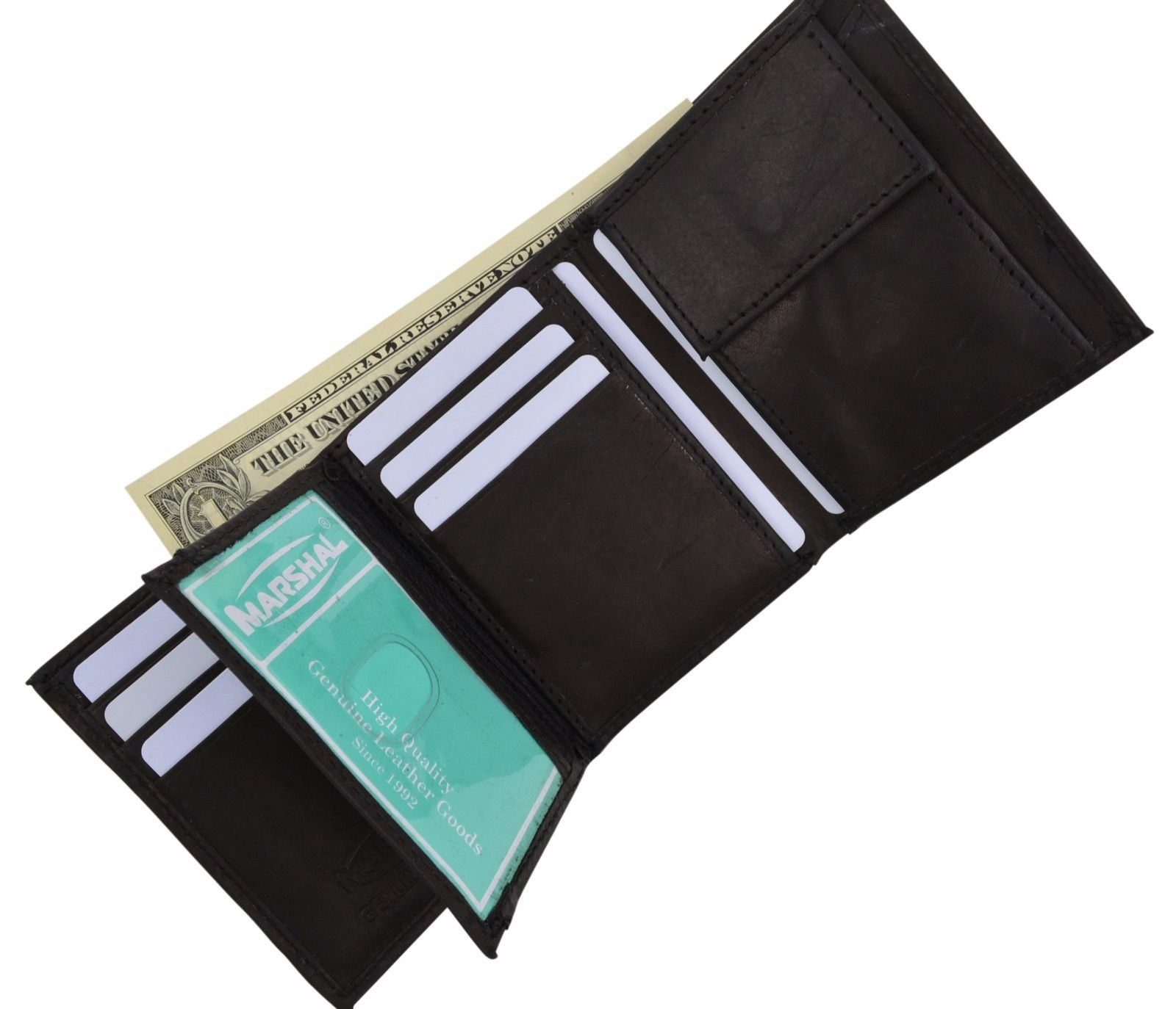 Boys Slim Compact Flap Id and Coin Pocket Trifold Wallet Brown