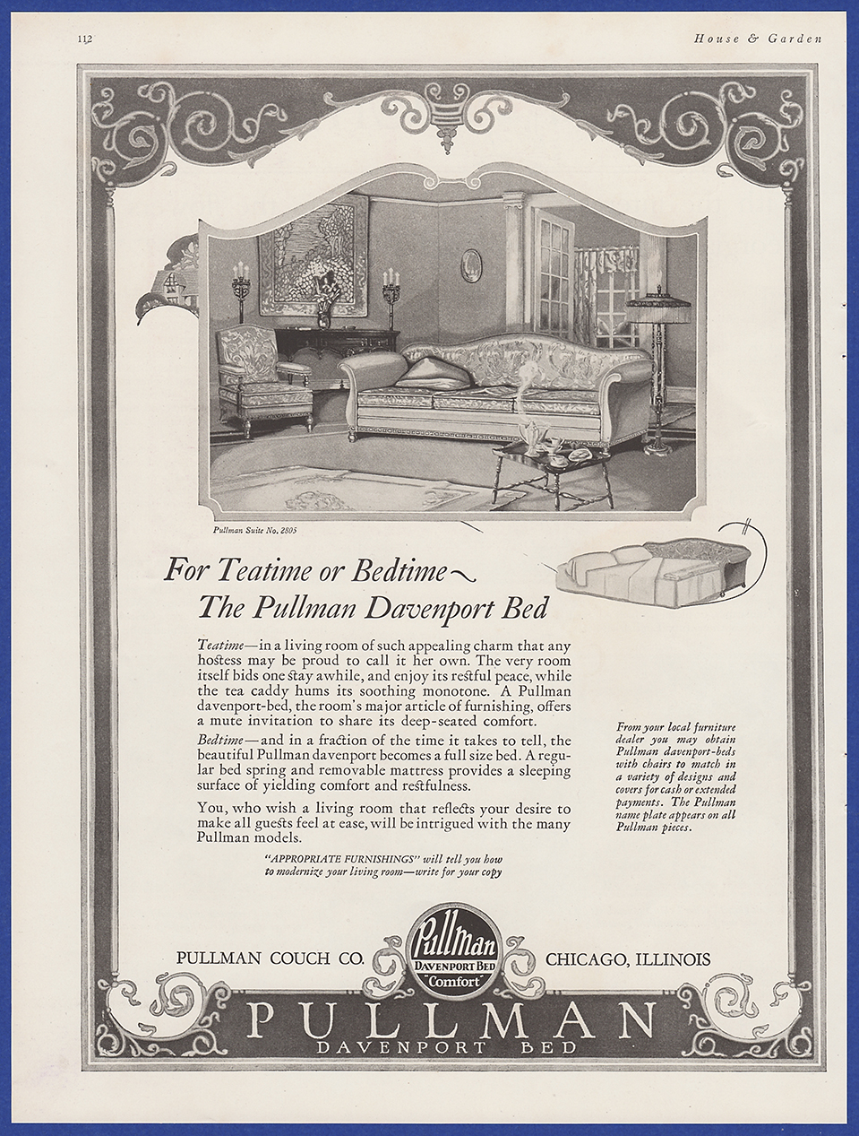 Sensational Details About Vintage 1924 Pullman Davenport Bed Furniture Couch Home Decor Print Ad 20S Pdpeps Interior Chair Design Pdpepsorg