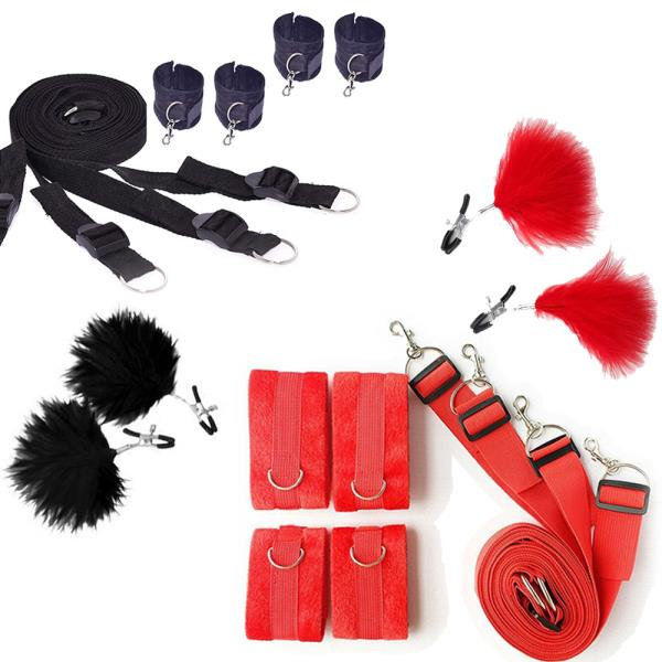Black Nylon Straps Under Bed Four Detach Cuffs with Feather Clamps Role Play Set