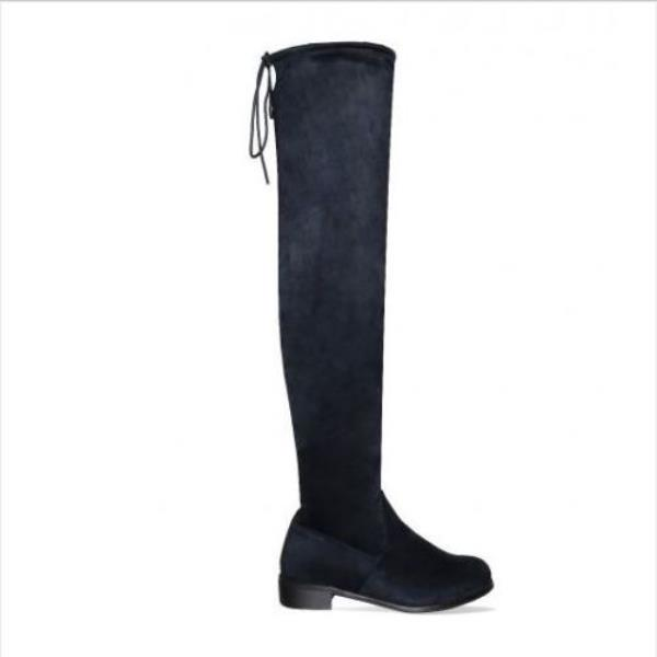 Womens Ladies Thigh High Boots Over The Knee Stretch Block Flat Heel Shoes Size