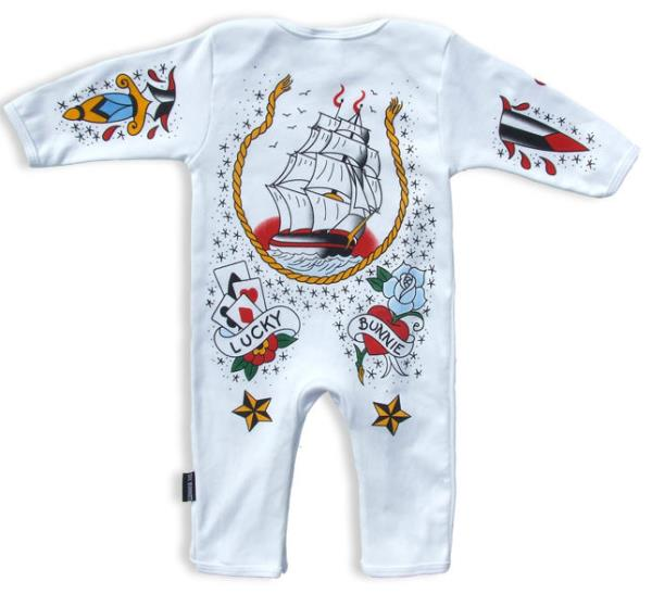 Six Bunnies Tattoo Sailor Romper One Piece Punk Baby Alternative Nautical Shower