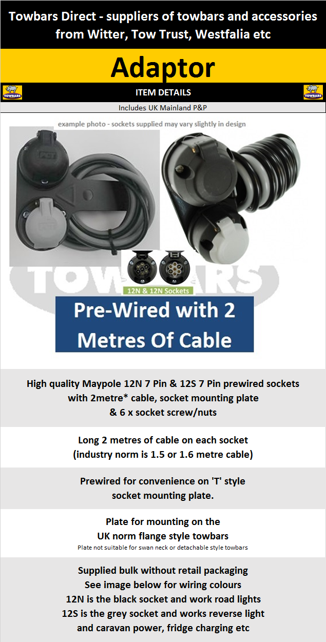Pre-wired 7 Pin Sockets on Swan Neck Plate for Caravans 12N /& 12S