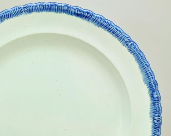 Staffordshire Small Antique Pearlware Cup Plate Leeds Blue Feather Edge 19th c