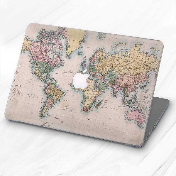 Watercolor Paint World Map Atlas Hard Case Cover For Macbook Air 11 13 Pro 13 15
