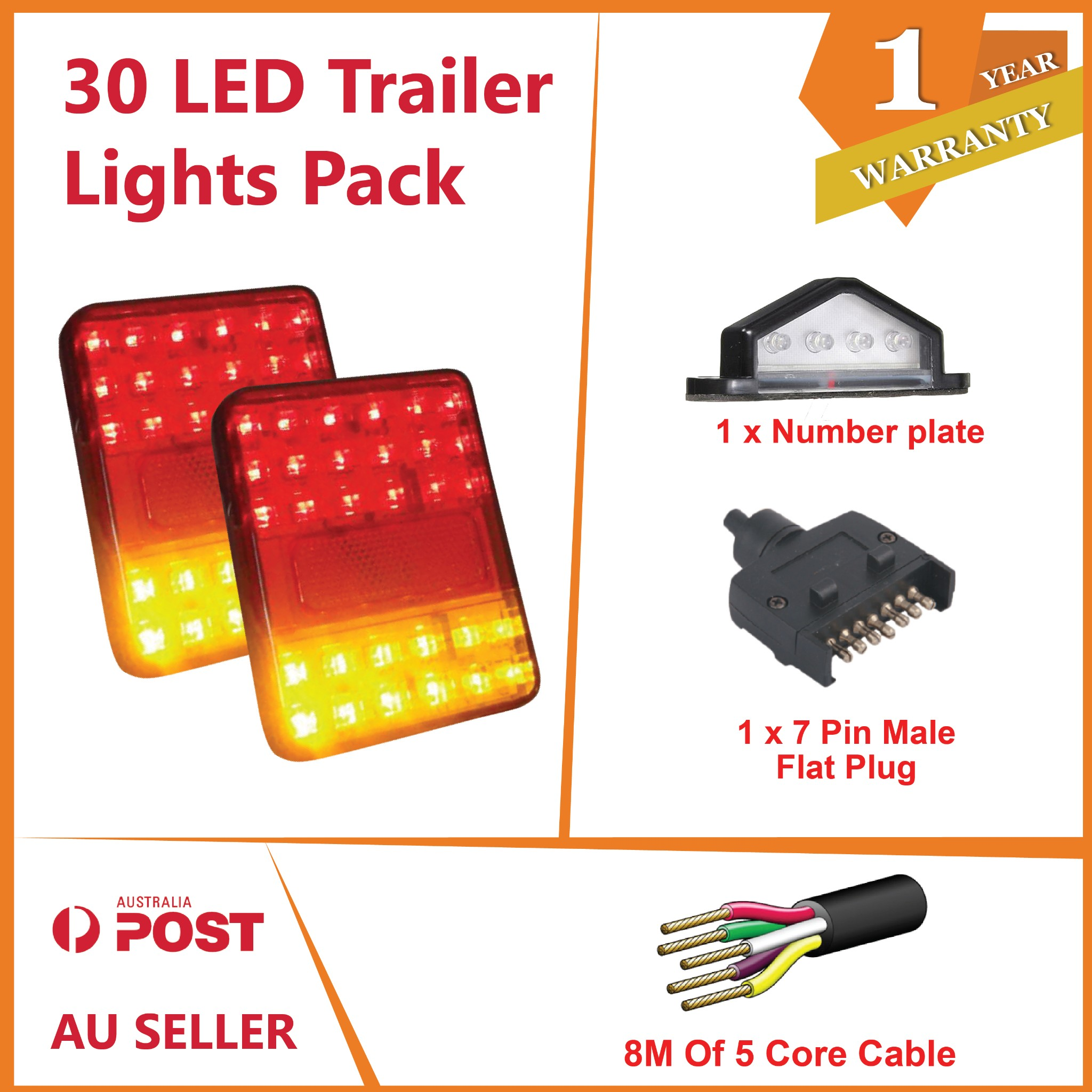 Diagram Pair Of Led Trailer Lights 1 X Flat Plug 8m X 5 Core