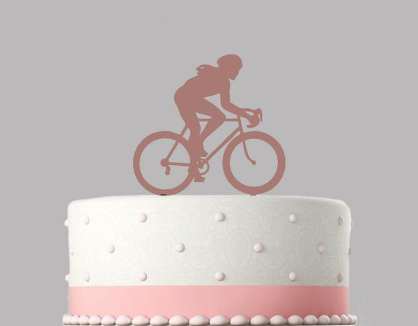 Woman Cyclist Bike Rose Gold mirror Acrylic Decoration Birthday Cake Topper.792