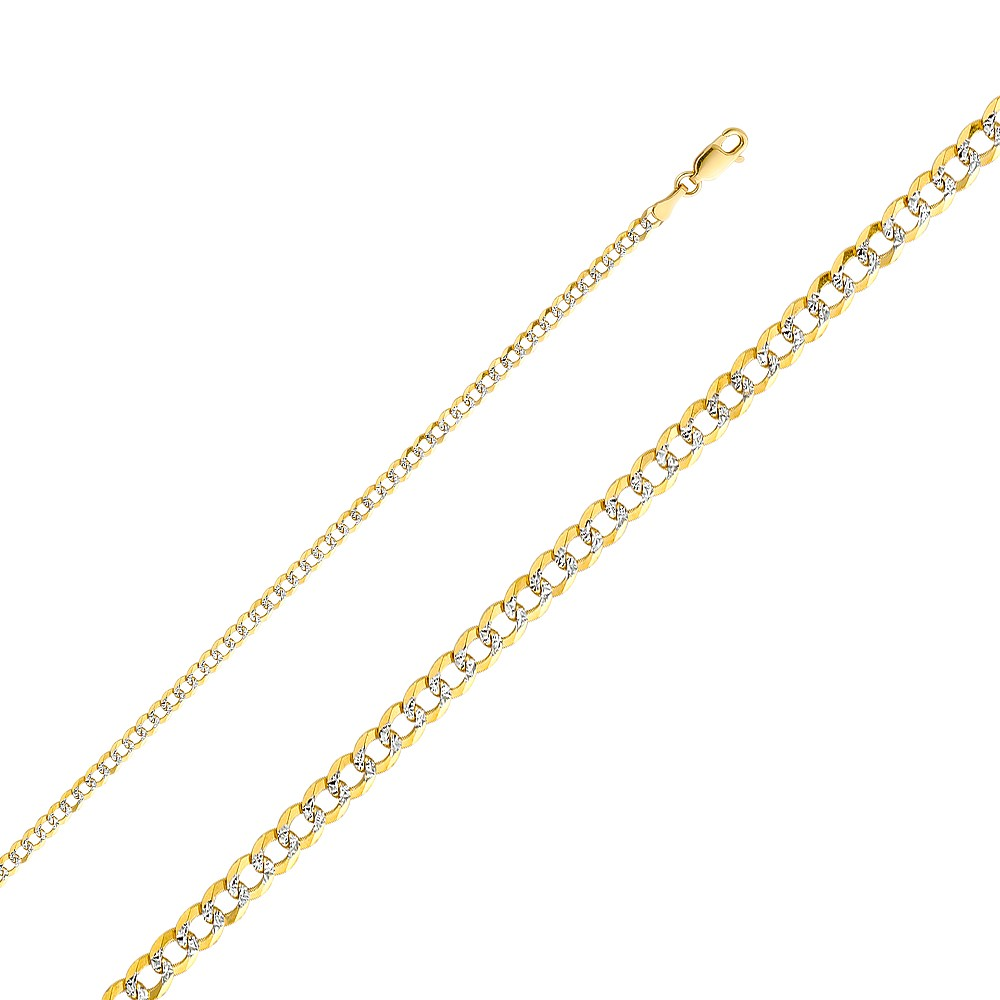 """14k White Pave Gold Figaro Chain Necklace Italy Solid Two Tone Link 2.2mm 18/"""" 20"""