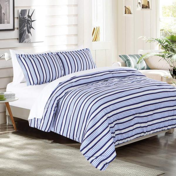 Twin Xl Full Queen Bed Navy Blue Yellow White Striped 7 Pc Comforter Set Bedding Ebay