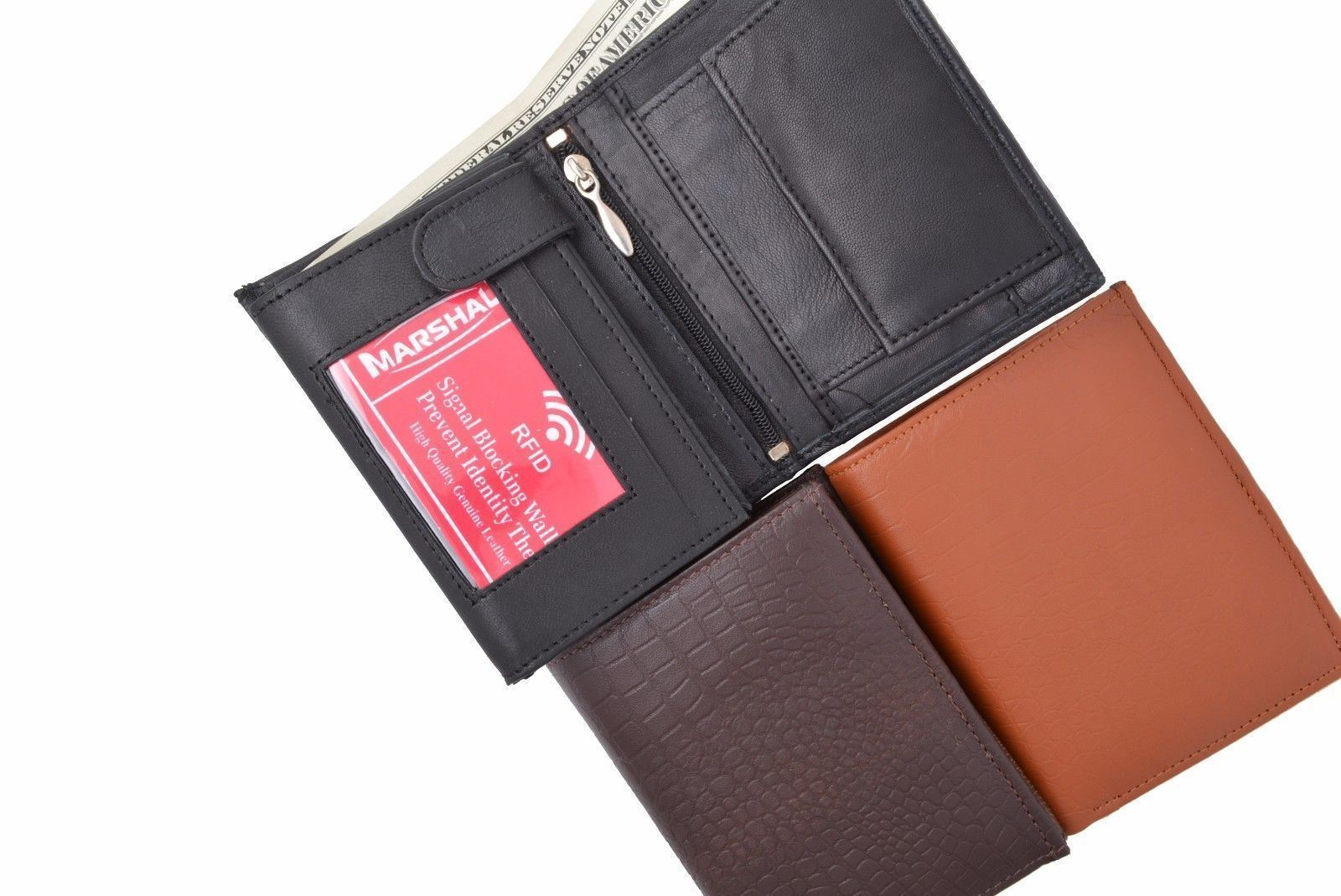 Vintage Leather RFID Blocking European Style Bifold Trifold Wallet W// ID Window
