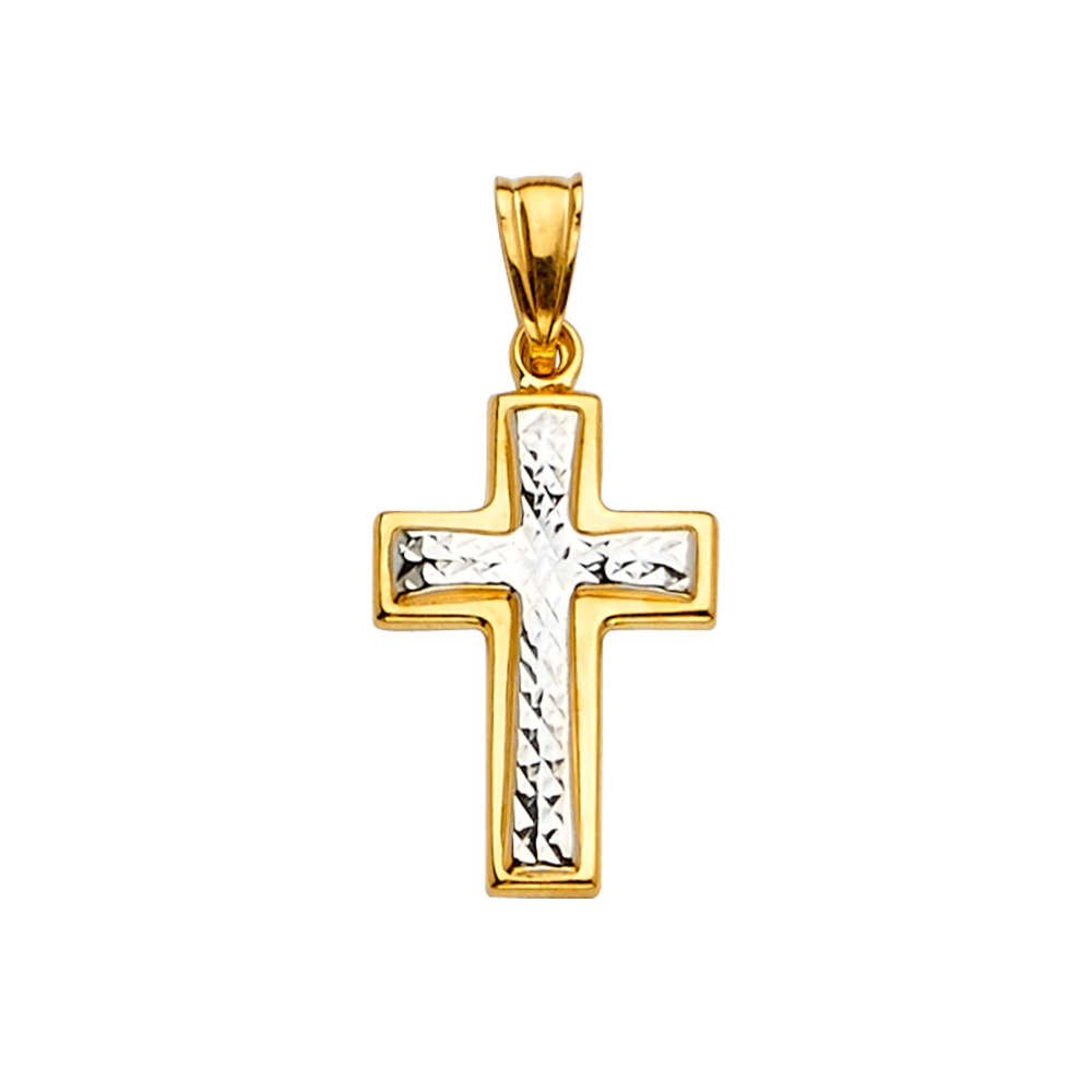 14K Two Tone Gold Religious Crucifix Charm Pendant For Necklace or Chain
