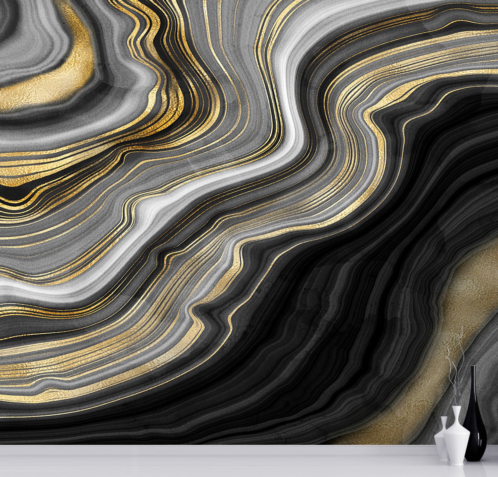 Details About Black And Gold Abstract Marble Stone Pattern Peel And Stick Wallpaper 6146 2