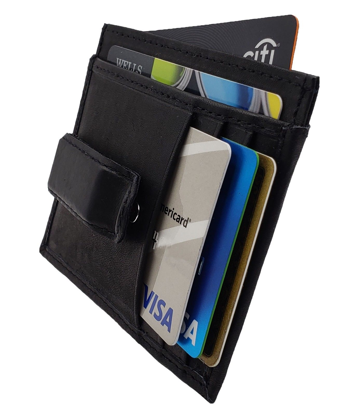 AuSion Slim Leather Business ID Credit Card Change Case Front Pocket Wallet for for Women Men