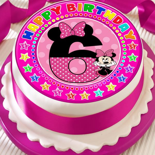 Swell Minnie Mouse Age 6 6Th Birthday Precut Edible 7 5 Inch Cake Topper Personalised Birthday Cards Veneteletsinfo