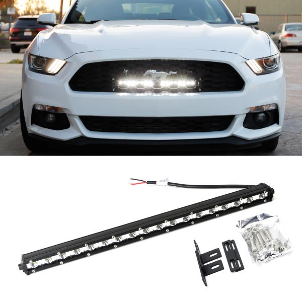 Details About 20 Ultra Slim Led Light Bar W Behind Grill Mount Wiring For 15 Up Ford Mustang