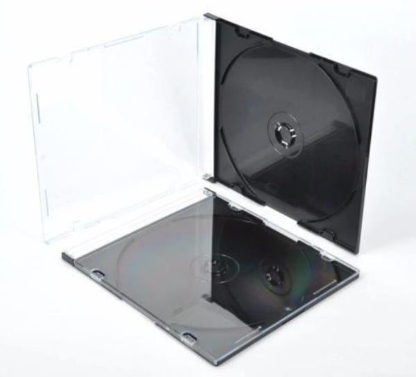 10 x Single Slim Jewel CD Cases with Black Tray 5.2mm Slimline Spine covers