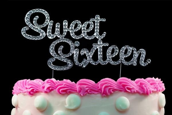 Stupendous 16Th Birthday Cake Toppers Silver Bling Sweet Sixteen Cake Toppers Personalised Birthday Cards Sponlily Jamesorg