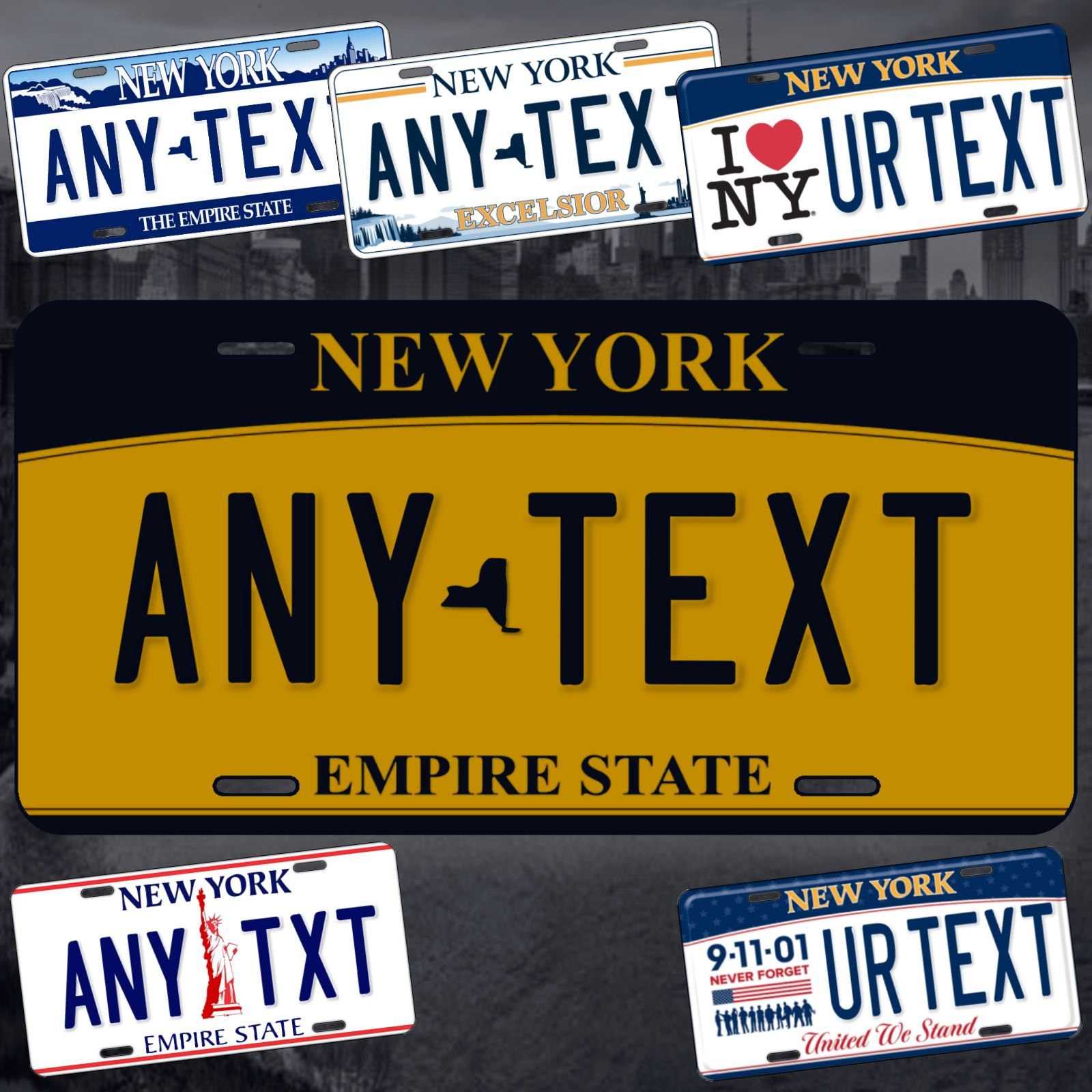 Artisan Owl New York City Empire State Blue and Gold Souvenir License Plate