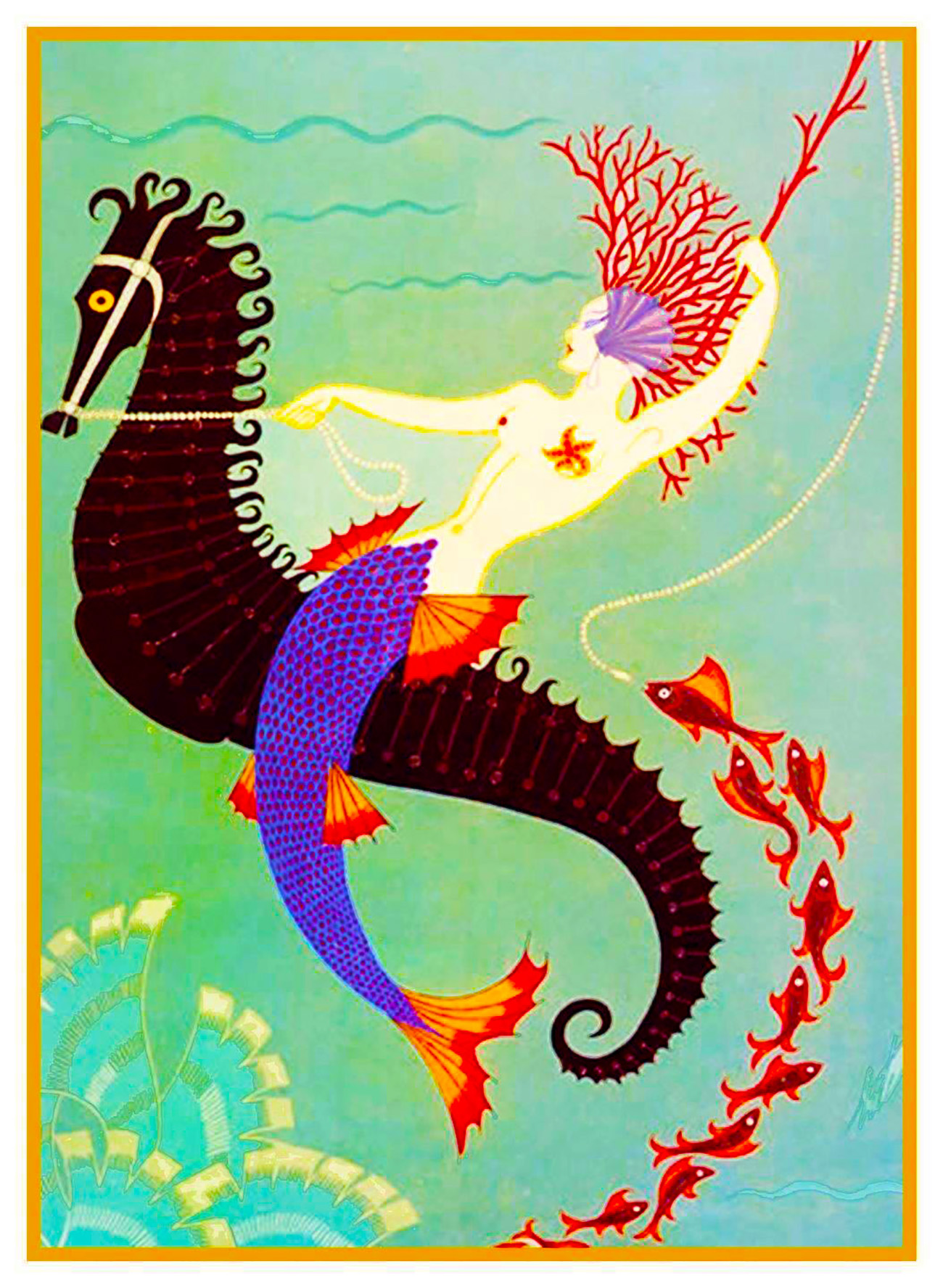 Mermaid Seahorse By Erte Romain De Tirtoff Counted Cross Stitch Chart Pattern 769572914916 Ebay