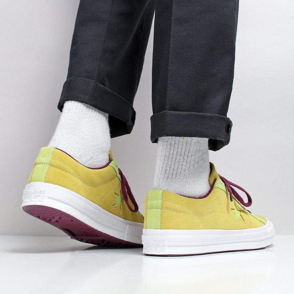 Details zu Converse Men's New One Star Ox Soft Suede Shoes Apple Green Yellow Purple