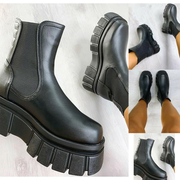 Details about  /Womens Chunky Platform Sole Chelsea Boots Ankle Stretch Lace Up Goth Punk Shoes