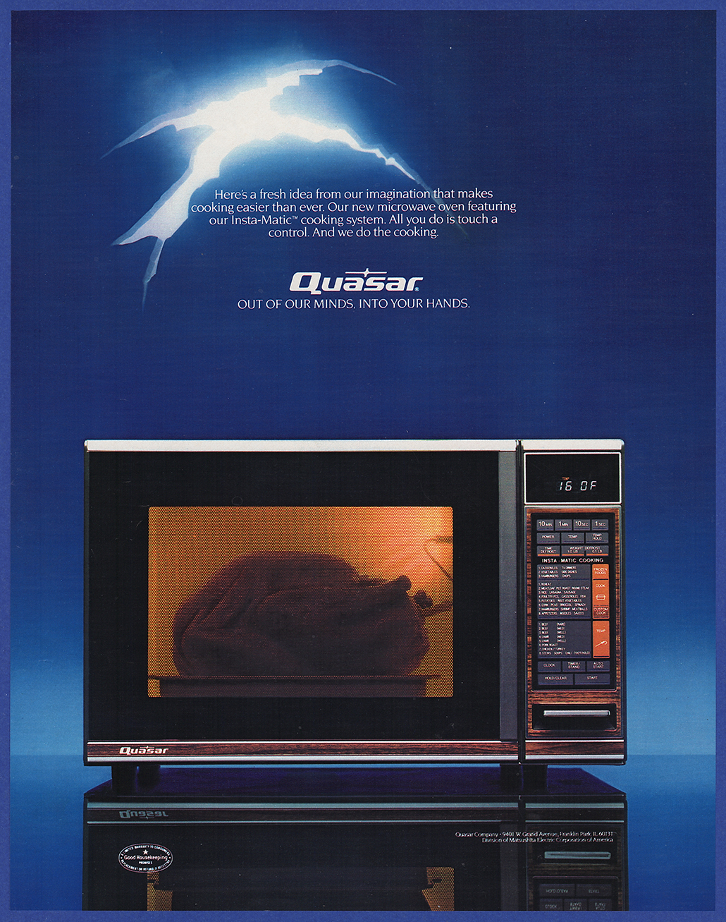 Vintage 1984 Quasar Microwave Oven Appliance Kitchen Art