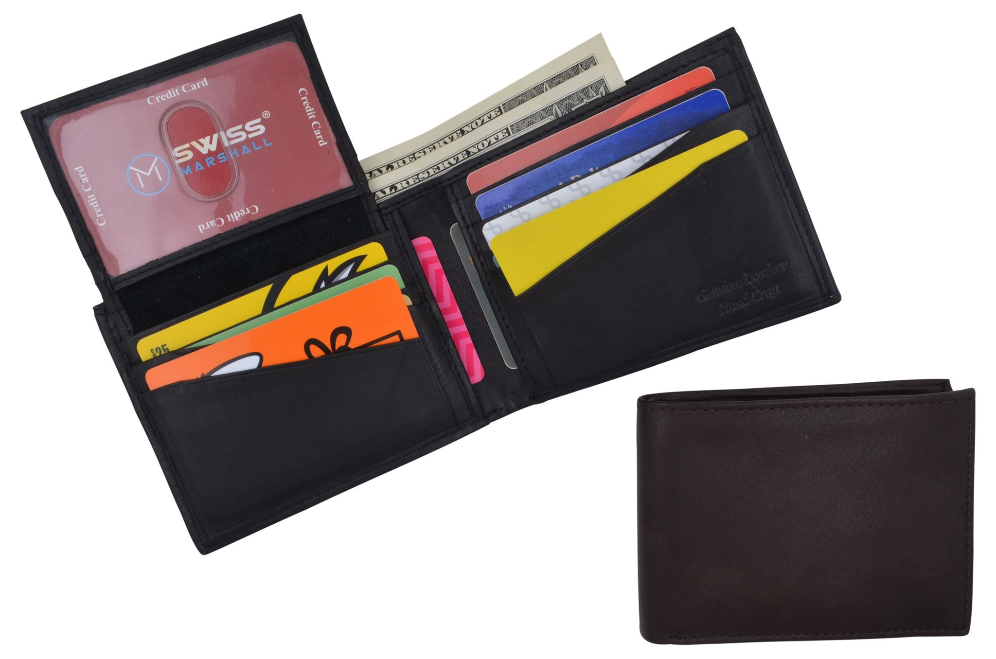 RFID Blocking Mens Fixed Flap Up Bifold Credit Card ID Wallet
