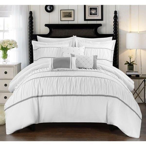 Queen King Bed Bag White Gray Striped Ruching Pintuck Pleat 10 pc Comforter Set