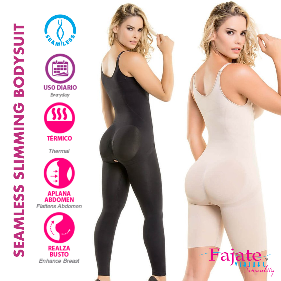 Fajate Seamless Thermal Action Weight Loss Hourglass Bodysuit