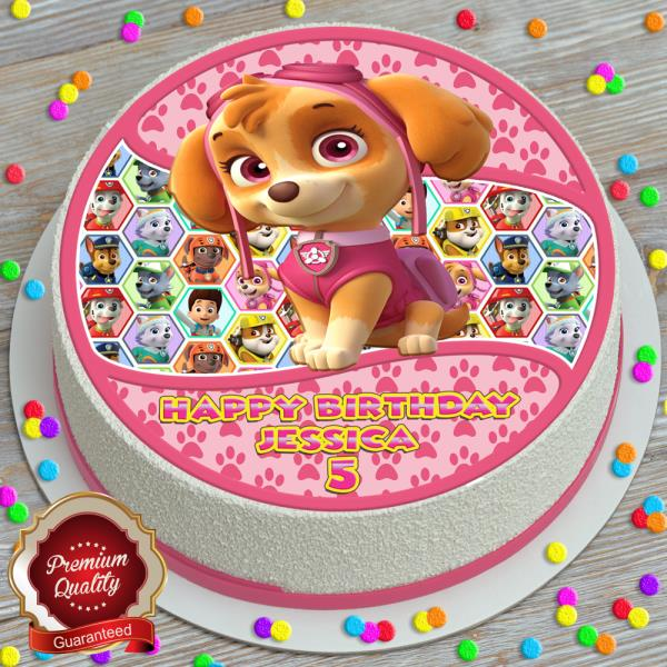 """Paw Patrol Skye Personalised Wafer Paper Topper 7.5/"""" For Large Cake 7.5/"""""""