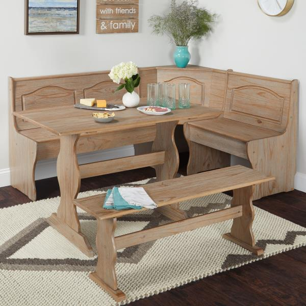 3 Pc Rustic Wooden Breakfast Nook Dining Set Corner Booth Bench