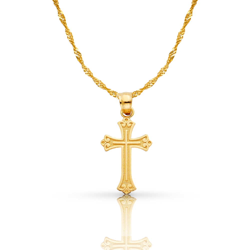 14K Yellow Gold Religious Crucifix Charm Pendant with 1.2mm Box Chain Necklace
