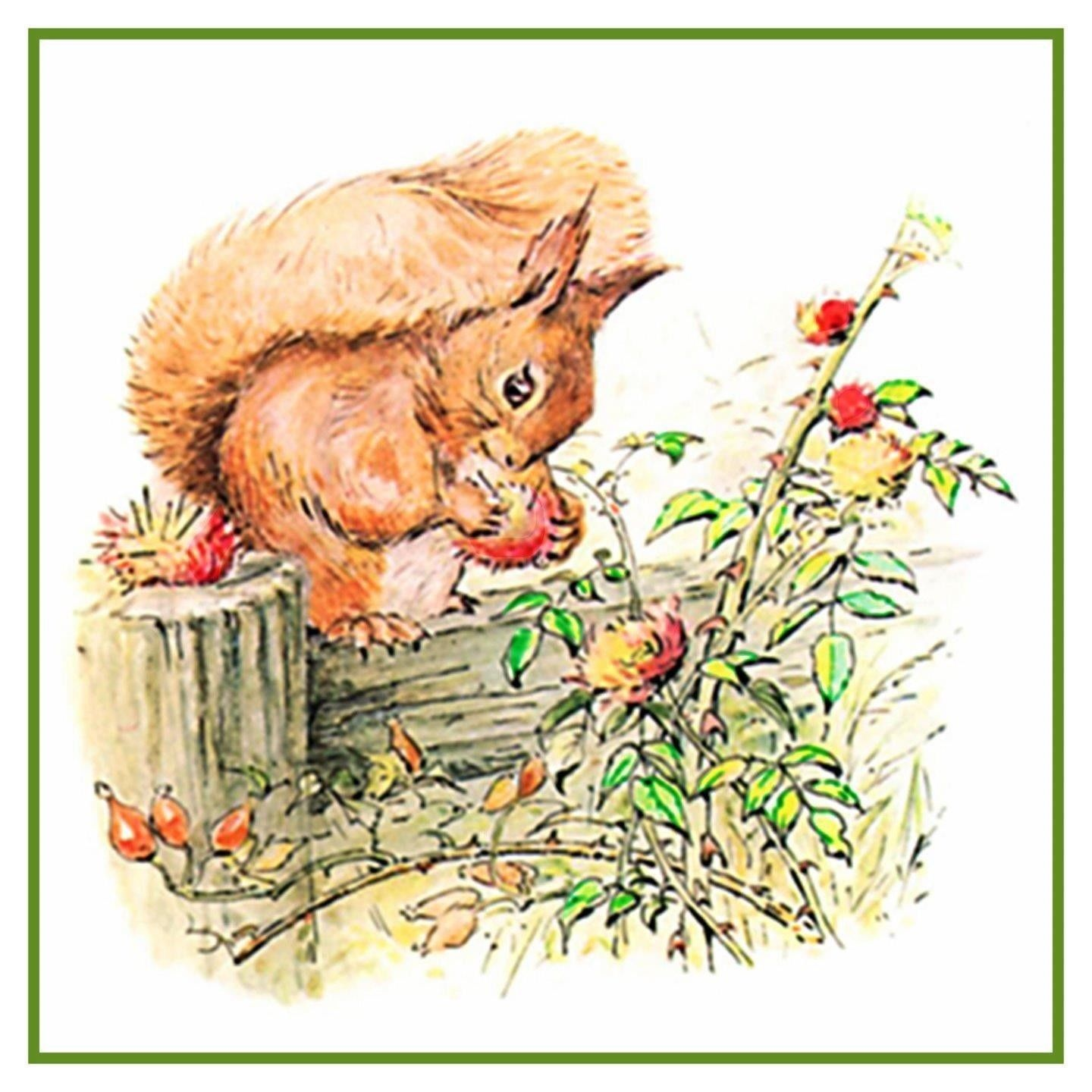 Squirrels Offering to Owl Inspired by Beatrix Potter Counted Cross Stitch Pattern
