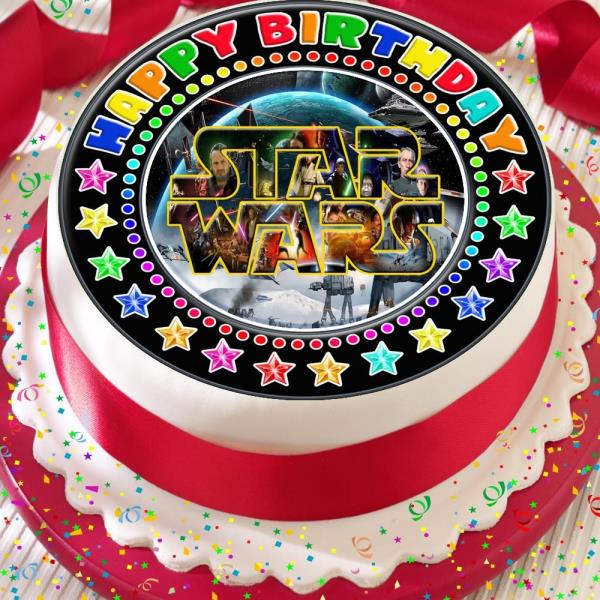 Awesome Star Wars Precut Black Border Edible Happy Birthday Cake Topper Funny Birthday Cards Online Bapapcheapnameinfo