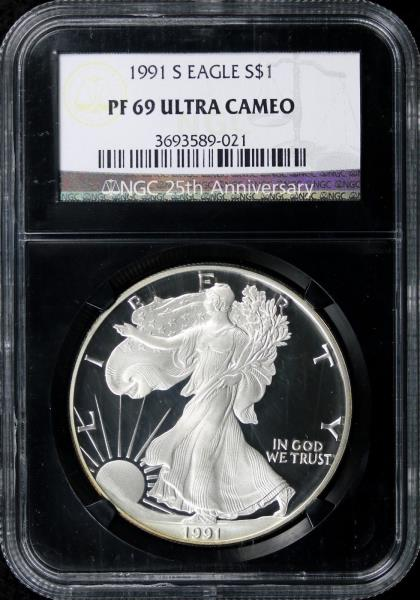1991 S Proof Silver Eagle NGC PF69 Ultra Cameo