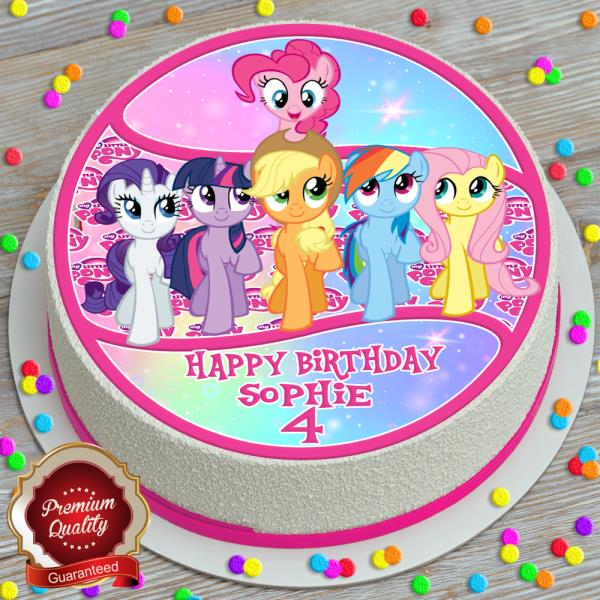 Peachy My Little Pony Happy Birthday Personalised 7 5 Inch Edible Cake Funny Birthday Cards Online Alyptdamsfinfo