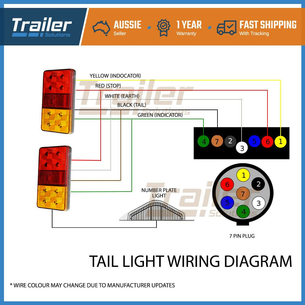 Trailer Light Kit Led Tail Lights 1 Plug 1 Number Plate Light 8m 5 Core Wire Ebay