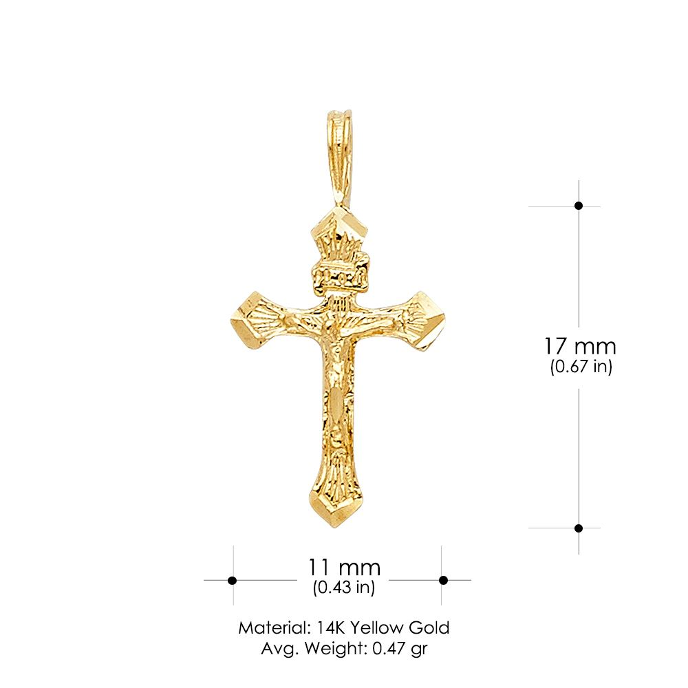 14K Two Tone Gold Jesus Crucifix Cross Religious Charm Pendant with 0.8mm Box Chain Necklace