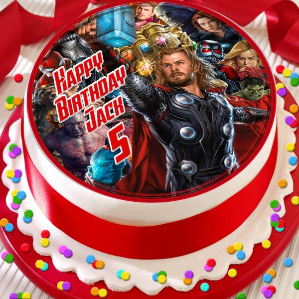 Marvelous Avengers Thor Happy Birthday Personalised 7 5 Inch Edible Cake Personalised Birthday Cards Paralily Jamesorg