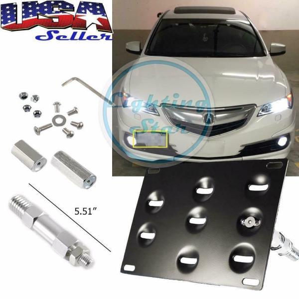 1 Set Front Tow Hook License Plate Bumper Mounting Bracket Relocator Holder Fit Honda Fit Acura TL 2006-2008