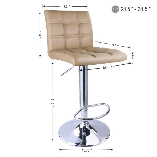 Brilliant Details About Set 2 Tan Air Lift Adjustable Stools Faux Leather Seat Swivel Chrome Bar Chair Short Links Chair Design For Home Short Linksinfo