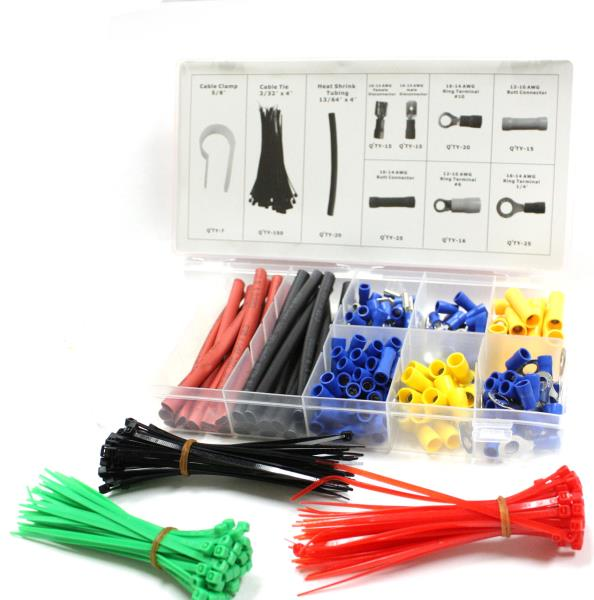 308pc Electrical Terminal Connector Cable Tie Clamp Heat Shrink Set Assortment